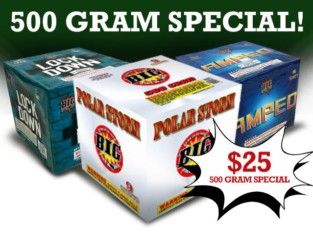 500 Gram Special! Only $25 at Hooksett Fireworks!