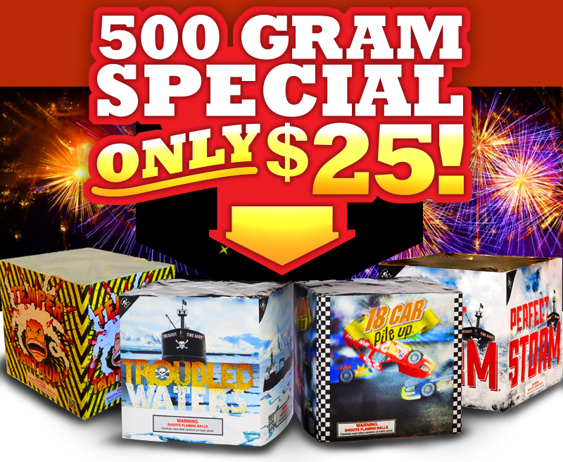 We're offering 50% off all fireworks items* in order to liquidate our entire inventory.